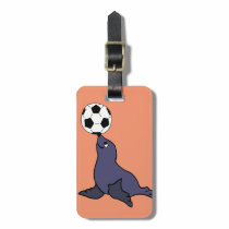 Funny Seal Animal Juggling Soccer Ball Bag Tag