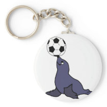 Funny Seal Animal Juggling Soccer Ball Keychain