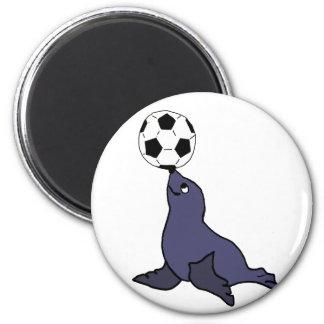 Funny Seal Animal Juggling Soccer Ball Magnet