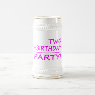 Funny Second Birthdays : Two + Birthday = Party Beer Stein