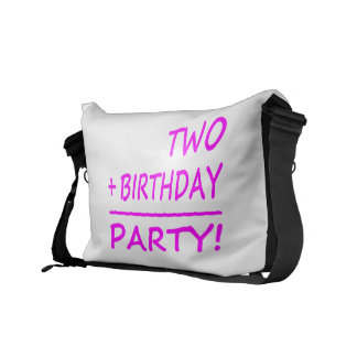 Funny Second Birthdays : Two + Birthday = Party Courier Bags