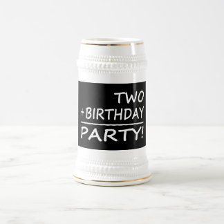 Funny Second Birthdays : Two + Birthday = Party 18 Oz Beer Stein
