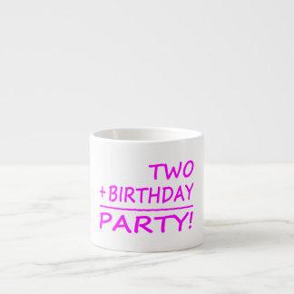 Funny Second Birthdays : Two + Birthday = Party 6 Oz Ceramic Espresso Cup