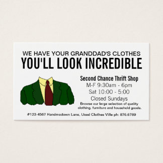 Funny Second Hand Store Thrift Shop Business Card