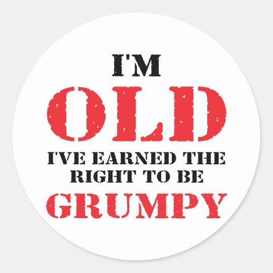 Funny Senior Citizen Gift Classic Round Sticker