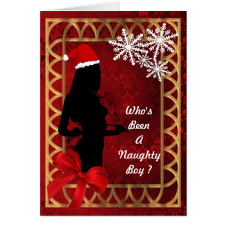 Funny sexy Santa Claus personalized christmas Card