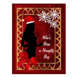 Funny sexy santa girl   christmas postcard
