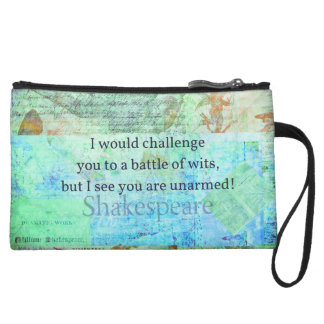 Funny Shakespeare insult quotation Elizabethan art Wristlet Clutches
