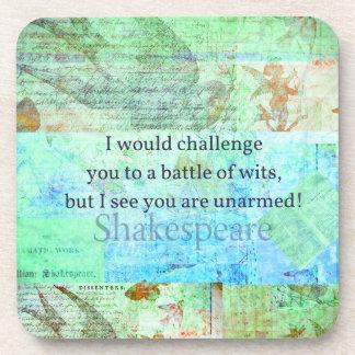 Funny Shakespeare insult quotation Elizabethan art Beverage Coaster