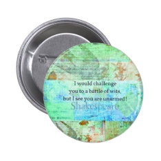 Funny Shakespeare Insult Quotation Elizabethan Art Button at Zazzle