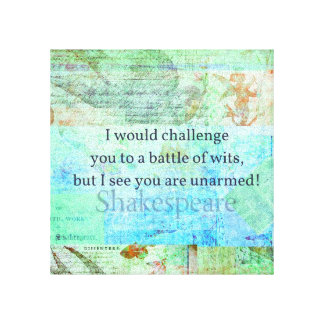 Funny Shakespeare insult quotation Elizabethan art Gallery Wrapped Canvas