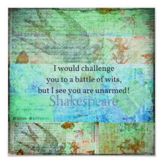 Funny Shakespeare Insult Quotation Elizabethan Art Poster at Zazzle