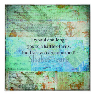 Funny Shakespeare insult quotation Elizabethan art Poster