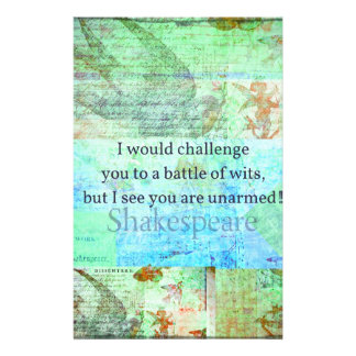 Funny Shakespeare insult quotation Elizabethan art Customized Stationery