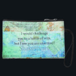 "Funny Shakespeare insult quotation Elizabethan art Wristlet Wallet<br><div class=""desc"">""I would challenge you to a battle of wits,  but I see you are unarmed!""― funny quotation by William Shakespeare. Snarky,  humorous Shakespearean insult with Elizabethan inspired art.</div>"