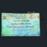 """Funny Shakespeare insult quotation Elizabethan art Wristlet Wallet<br><div class=""""desc"""">""""I would challenge you to a battle of wits,  but I see you are unarmed!""""― funny quotation by William Shakespeare. Snarky,  humorous Shakespearean insult with Elizabethan inspired art.</div>"""