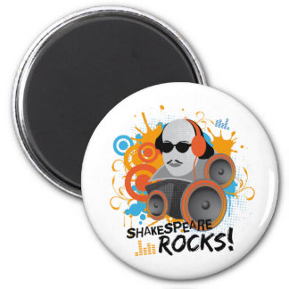 "Funny Shakespeare Slogan Gift ""Shakespeare Rocks"" 2 Inch Round Magnet"