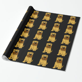 Funny Shar Pei Puppy Dog Original Art Wrapping Paper