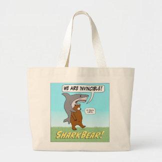 Funny Shark and Bear Invincible Tote Bag