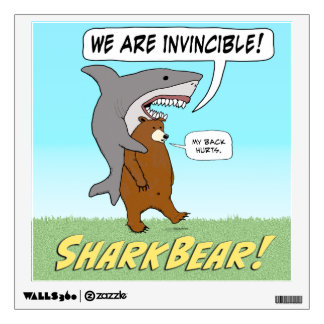 Funny Shark and Bear Invincible Wall Decal