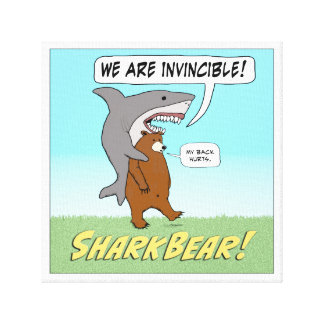 Funny Shark and Bear Invincible Wrapped Canvas