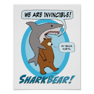 Funny Shark and Bear Poster