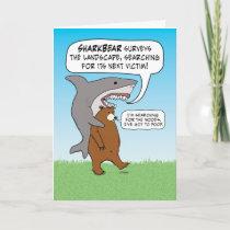 Funny Shark and Bear Quest Birthday Card