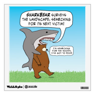 Funny Shark and Bear Quest Wall Decal