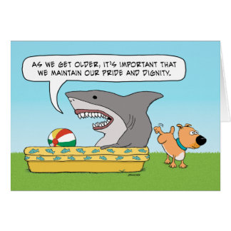 Funny Shark and Dog Birthday Greeting Card