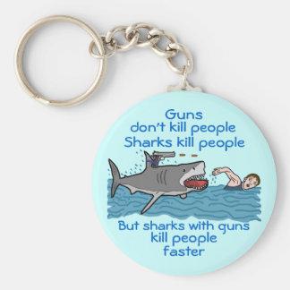 Funny Shark Armed Gun Control Humor Keychain
