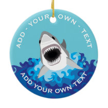 Funny Shark Attack Ceramic Ornament