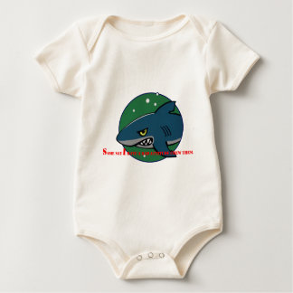 funny shark bad attitude preditor fish gift baby bodysuit