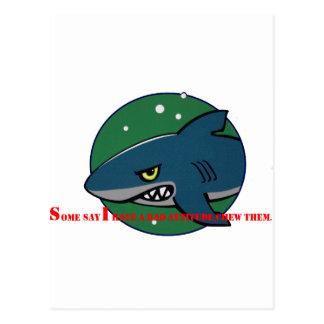 funny shark bad attitude preditor fish gift postcard