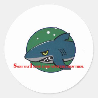 funny shark bad attitude preditor fish gift sticker