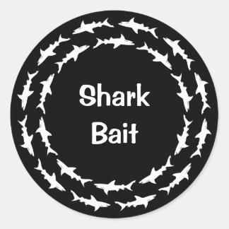 Funny Shark Bait Circling School of Sharks Classic Round Sticker