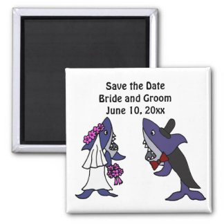 Funny Shark Bride and Groom Wedding Art 2 Inch Square Magnet