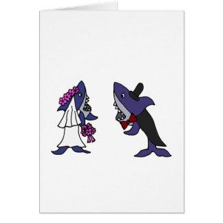 Funny Shark Bride and Groom Wedding Cartoon Card