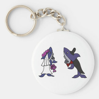 Funny Shark Bride and Groom Wedding Cartoon Key Chains