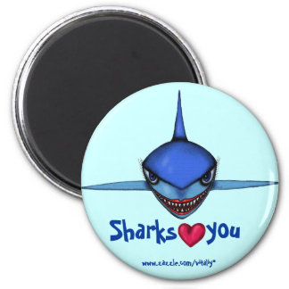 Funny shark cartoon art cool magnet design