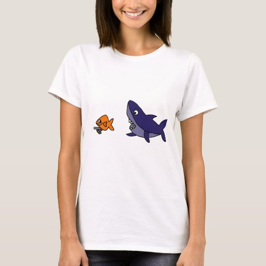 Funny Shark Chasing Goldfish with Gun T-Shirt