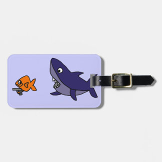 Funny Shark Chasing Goldfish with Gun Tag For Luggage
