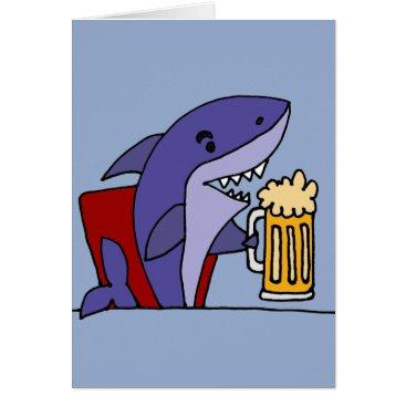 Beach Themed Funny Shark Drinking Beer Card