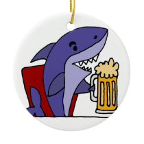 Funny Shark Drinking Beer Ceramic Ornament