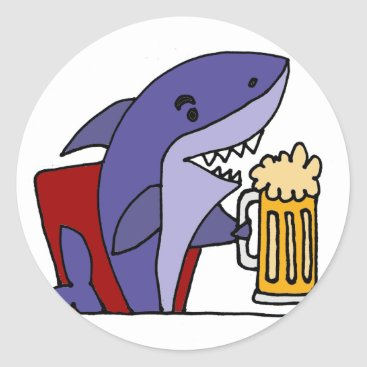 Beach Themed Funny Shark Drinking Beer Classic Round Sticker
