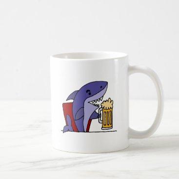 Beach Themed Funny Shark Drinking Beer Coffee Mug