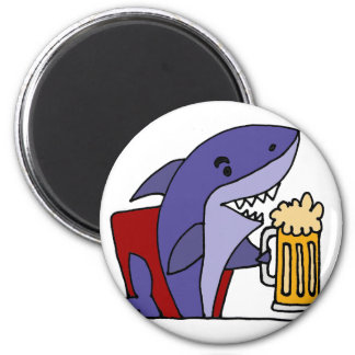 Funny Shark Drinking Beer Magnet