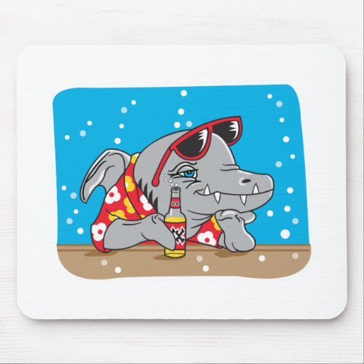 funny shark drinking beer mouse pads