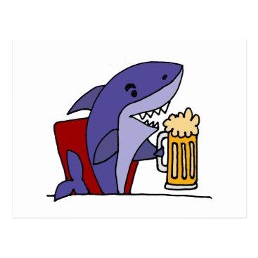 Beach Themed Funny Shark Drinking Beer Postcard