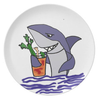 Funny Shark Drinking Bloody Mary Dinner Plate