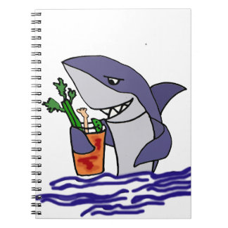 Funny Shark Drinking Bloody Mary Spiral Notebook